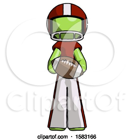 Green Football Player Man Giving Football to You by Leo Blanchette