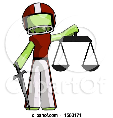 Green Football Player Man Justice Concept with Scales and Sword, Justicia Derived by Leo Blanchette