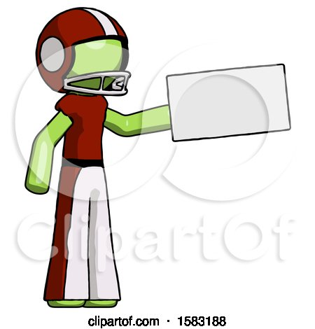 Green Football Player Man Holding Large Envelope by Leo Blanchette