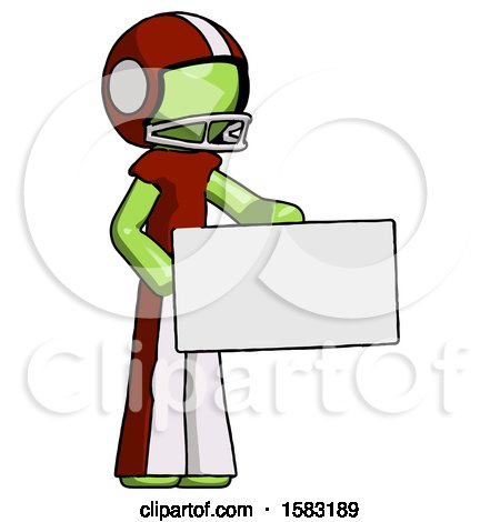 Green Football Player Man Presenting Large Envelope by Leo Blanchette