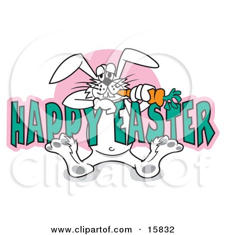 Silly White Easter Bunny Eating A Carrot While Hanging Onto Text Reading Happy Easter Posters, Art Prints