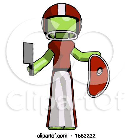 Green Football Player Man Holding Large Steak with Butcher Knife by Leo Blanchette