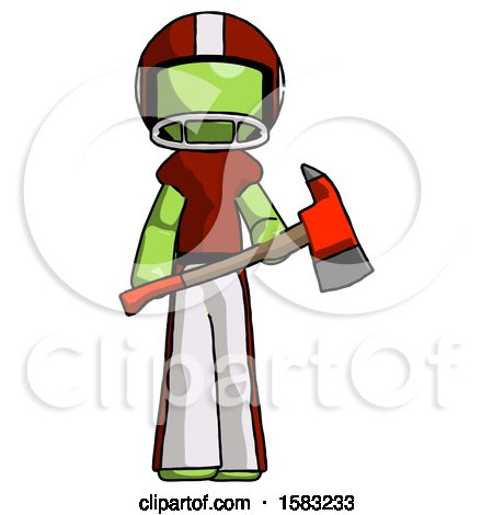 Green Football Player Man Holding Red Fire Fighter's Ax by Leo Blanchette