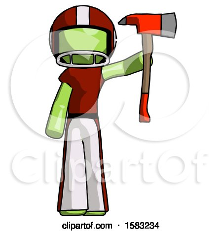 Green Football Player Man Holding up Red Firefighter's Ax by Leo Blanchette