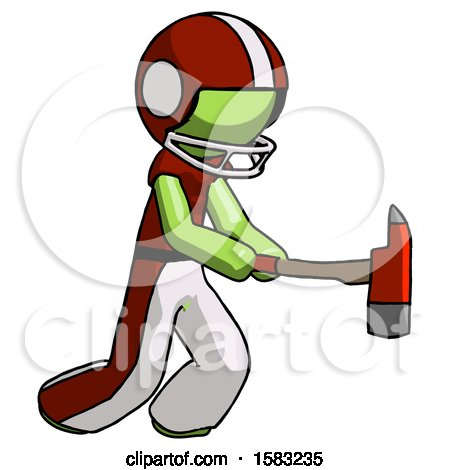 Green Football Player Man with Ax Hitting, Striking, or Chopping by Leo Blanchette