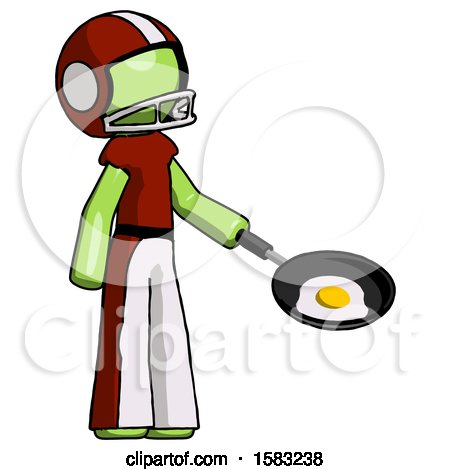 Green Football Player Man Frying Egg in Pan or Wok Facing Right by Leo Blanchette