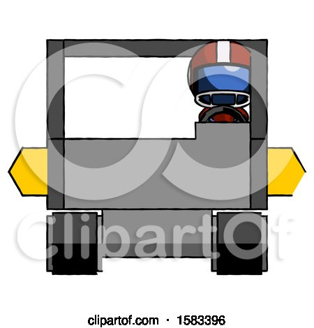 Blue Football Player Man Driving Amphibious Tracked Vehicle Front View by Leo Blanchette