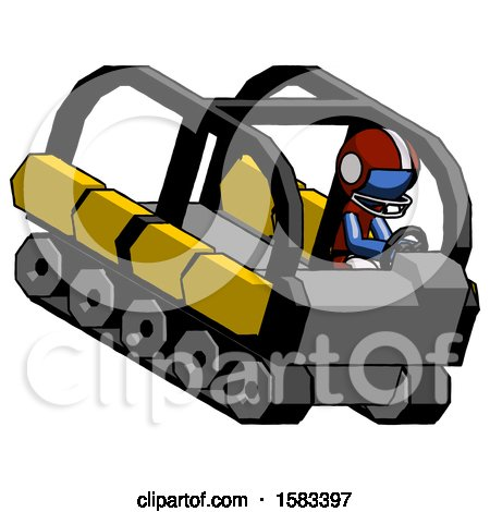 Blue Football Player Man Driving Amphibious Tracked Vehicle Top Angle View by Leo Blanchette