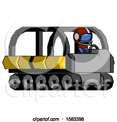 Blue Football Player Man Driving Amphibious Tracked Vehicle Side Angle View by Leo Blanchette