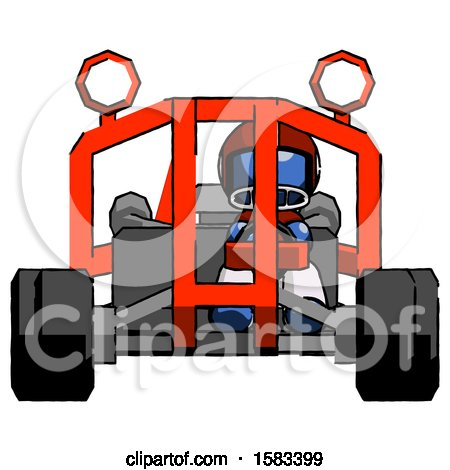 Blue Football Player Man Riding Sports Buggy Front View by Leo Blanchette