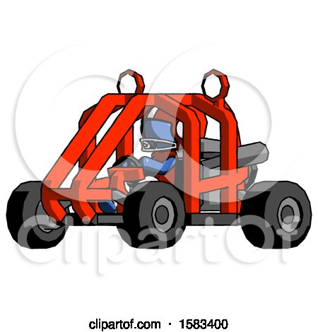 Blue Football Player Man Riding Sports Buggy Side Angle View by Leo Blanchette