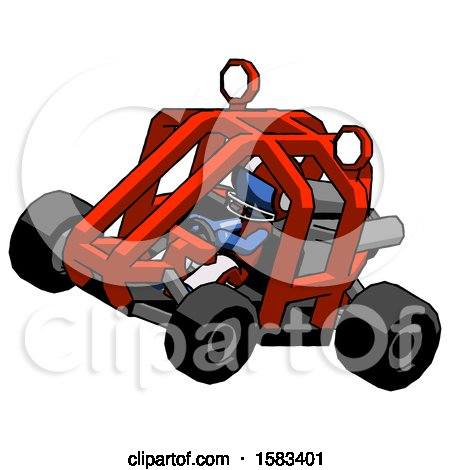 Blue Football Player Man Riding Sports Buggy Side Top Angle View by Leo Blanchette