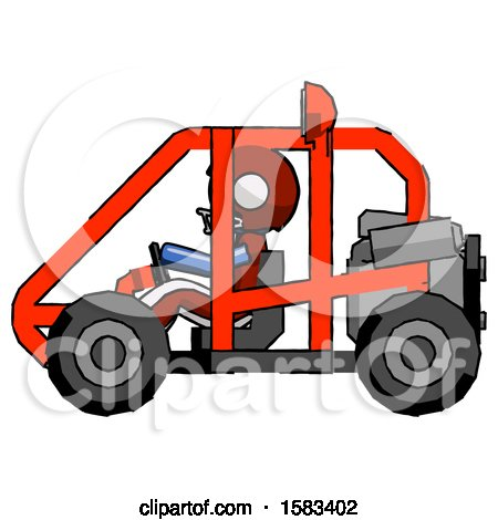 Blue Football Player Man Riding Sports Buggy Side View by Leo Blanchette