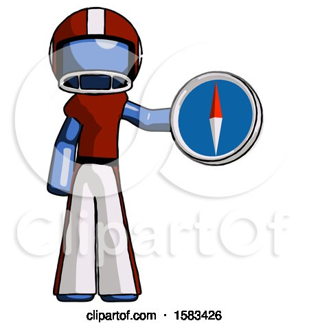 Blue Football Player Man Holding a Large Compass by Leo Blanchette