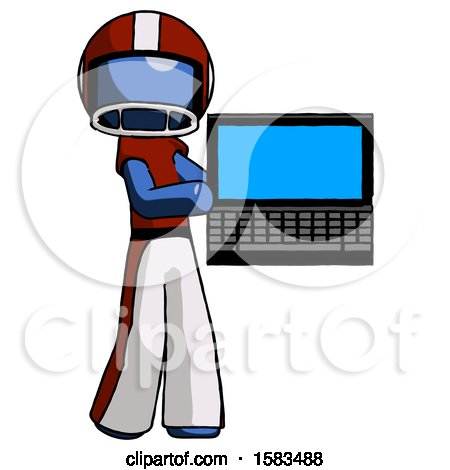 Blue Football Player Man Holding Laptop Computer Presenting Something on Screen by Leo Blanchette