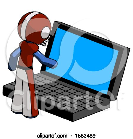 Blue Football Player Man Using Large Laptop Computer by Leo Blanchette