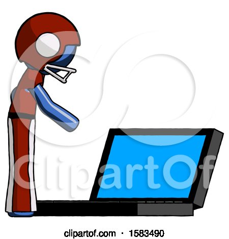 Blue Football Player Man Using Large Laptop Computer Side Orthographic View by Leo Blanchette