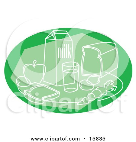 Green Still Life Of Milk, Bread, Fruits And Veggies Posters, Art Prints