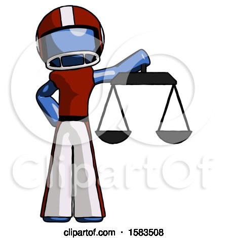 Blue Football Player Man Holding Scales of Justice by Leo Blanchette