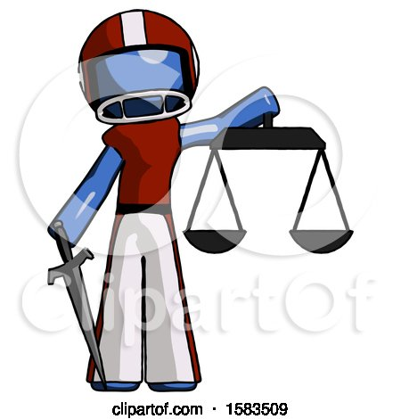 Blue Football Player Man Justice Concept with Scales and Sword, Justicia Derived by Leo Blanchette