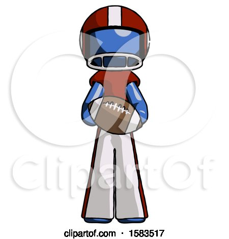 Blue Football Player Man Giving Football to You by Leo Blanchette