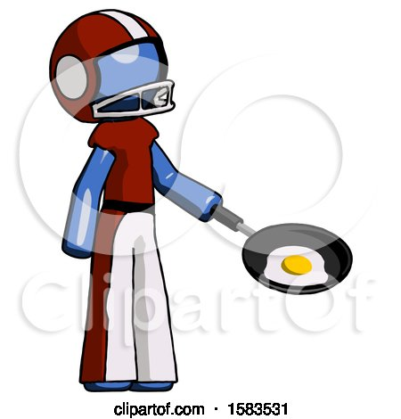 Blue Football Player Man Frying Egg in Pan or Wok Facing Right by Leo Blanchette