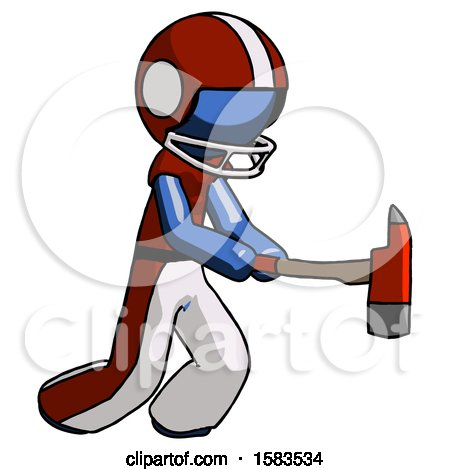 Blue Football Player Man with Ax Hitting, Striking, or Chopping by Leo Blanchette