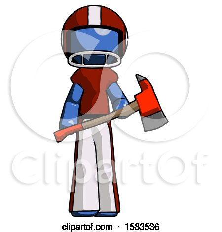 Blue Football Player Man Holding Red Fire Fighter's Ax by Leo Blanchette