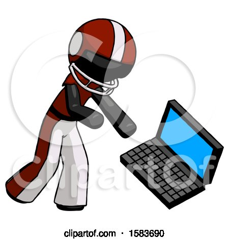 Black Football Player Man Throwing Laptop Computer in Frustration by Leo Blanchette