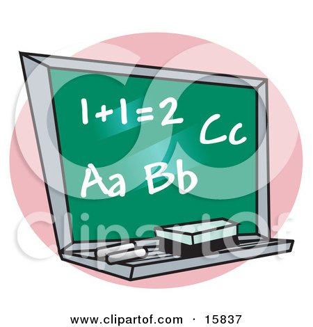 Chalkboard With Letter Of The Alphabet And Addition Written On It In A School Classroom Clipart Illustration by Andy Nortnik