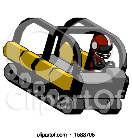 Black Football Player Man Driving Amphibious Tracked Vehicle Top Angle View by Leo Blanchette