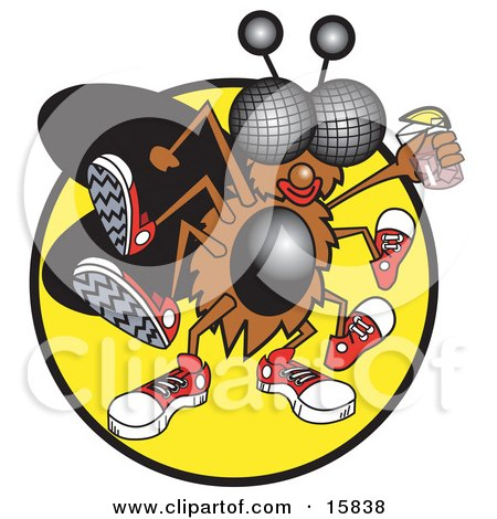 Thirsty Green Fly Wearing Sneakers And Holding A Glass Of Pink Lemonade Clipart Illustration by Andy Nortnik