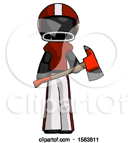 Black Football Player Man Holding Red Fire Fighter's Ax by Leo Blanchette