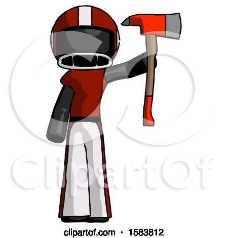 Black Football Player Man Holding up Red Firefighter's Ax by Leo Blanchette