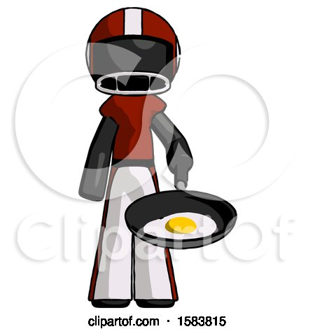 Black Football Player Man Frying Egg in Pan or Wok by Leo Blanchette