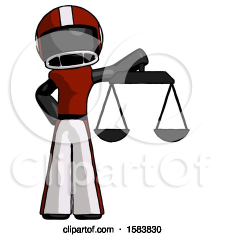Black Football Player Man Holding Scales of Justice by Leo Blanchette