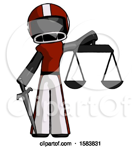 Black Football Player Man Justice Concept with Scales and Sword, Justicia Derived by Leo Blanchette