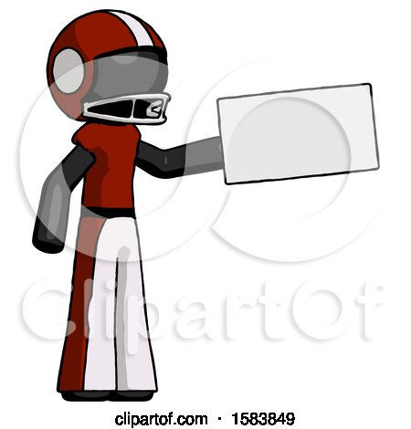 Black Football Player Man Holding Large Envelope by Leo Blanchette