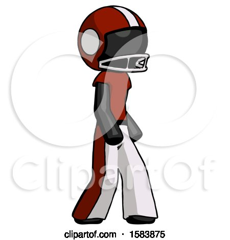 Black Football Player Man Walking Turned Right Front View by Leo Blanchette