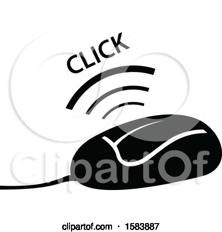 Clipart of a Black and White Clicking Computer Mouse - Royalty Free Vector Illustration by dero