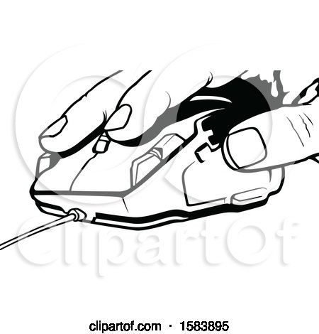 Clipart Of A Black And White Hand On A Computer Mouse