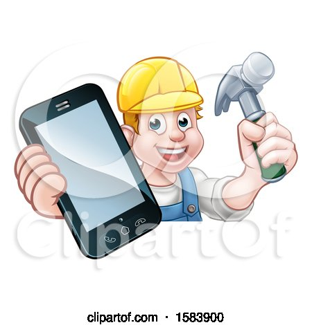 Clipart of a White Male Carpenter Holding a Hammer and Cell Phone over a Sign - Royalty Free Vector Illustration by AtStockIllustration