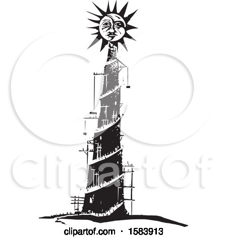 Clipart of a Sun over the Tower of Babel, Pride - Royalty Free Vector Illustration by xunantunich