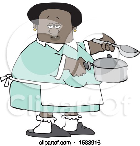 Clipart of a Cartoon Black Woman Holding a Spoon and Pot While Cooking Soup - Royalty Free Vector Illustration by djart