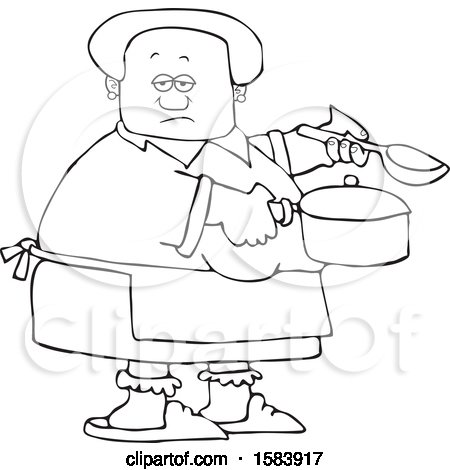 Clipart of a Cartoon Lineart Black Woman Holding a Spoon and Pot While Cooking Soup - Royalty Free Vector Illustration by djart