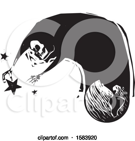 Clipart of a Skeleton of Death Emerging from Earth and Reaching for the Stars - Royalty Free Vector Illustration by xunantunich