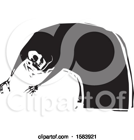 Clipart of a Skeleton of Death Reaching - Royalty Free Vector Illustration by xunantunich