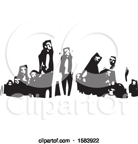 Clipart of a Black and White Woodcut Group of Refugees - Royalty Free Vector Illustration by xunantunich