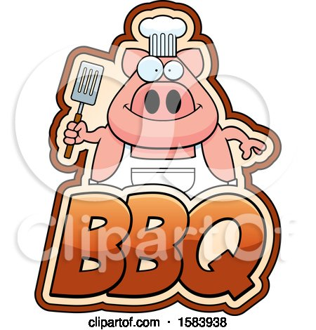 Clipart of a Grilling Chef Pig Holding a Spatula over Bbq Text - Royalty Free Vector Illustration by Cory Thoman