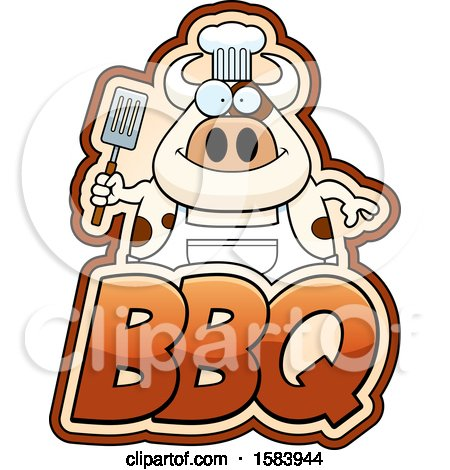Clipart of a Grilling Chef Cow Holding a Spatula over Bbq Text - Royalty Free Vector Illustration by Cory Thoman